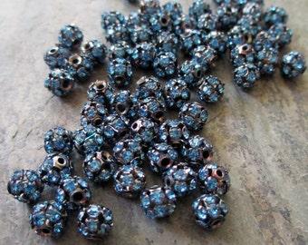 6 mm blue rhinestone bead balls oxidized silver vintage style prong set small, lot of 10 pcs