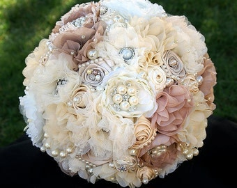 Fabric Flower Wedding Bouquet, Rustic Country Glam Jeweled Bouquet, Jeweled Wedding Bouquet, Fabric Flower Bouquet, DEPOSIT ONLY