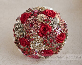 Brooch bouquet. Gold and Red wedding brooch bouquet, Jeweled Bouquet. Made upon request