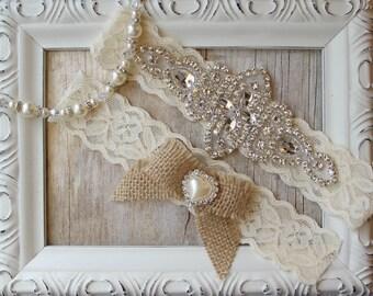 Customizable Garter w/Toss - Ivory Wedding Garter Set, Rustic Garter Set, Lace Bridal Garter, Rustic Wedding Garter Set, Rustic Wedding
