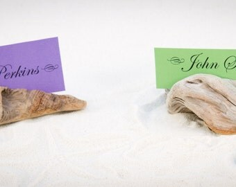 5 Driftwood Place Card Holder, Wedding Favor, Buffet Marker, Nautical Party, Baby Shower or Gift, made out of unique Driftwood