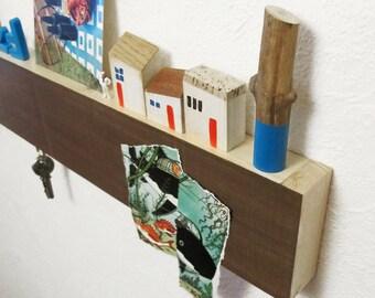 Magnetic walnut wood shelf (I)