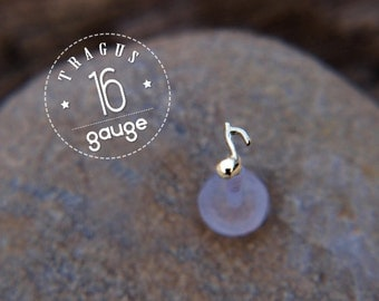 Music Note TRAGUS sterling silver /16 gauge/ BioFlex/Sterling silver/ tragus earring/labret earring/tragus/cartilage earring/ helix