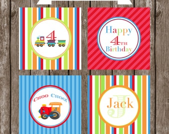 TRAIN All Aboard Cupcake Toppers Printable Boy Birthday  by Marbella Printables