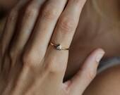 Trillion Diamond Ring, Diamond Engagement Ring, Triangle Diamond Ring, 18k Gold Ring
