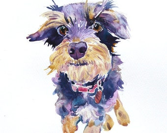 Custom Pet Portrait, Pet Portrait, Animal Painting,Custom Portrait,11x14 inchs, Original Watercolor Painting, Dog Art Gift   - Illustration