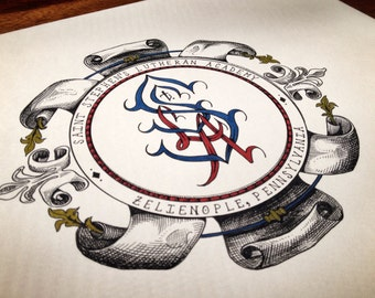 5x8 Custom Art Monogram Design - Personalized Art Commission - Hand Lettered Monogram Initials - Gifts Ideas for Teachers - Illustration