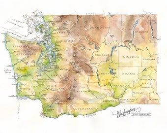 Washington State Map // ILLUSTRATION // 24x18