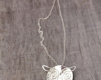 Handmade Quirky Sterling Silver Wise Owl Hammered Pendant