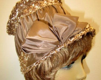 1960s Hat/ 1960s Bucket hat taupe cellophane and taffeta/ Mad Men style bucket hat, Mod beige hat