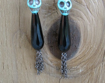 Black Onyx drop dangle earring with turquoies skull and gun metal chain
