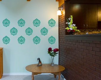 Damask scroll Vinyl Wall Decals set of 10 graphics p4