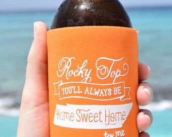 Rocky Top Tennessee Can Cooler Beer Cozy in Orange