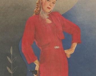 "1940s Knitting Pattern for Womens Dress and Bolero Keyhole Neckline - 34"" - Digital PDF"