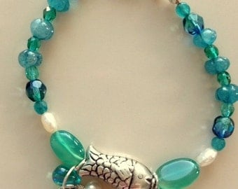 Vintage Silver Fish Bracelet made with Green and Blue Hand Carved Chalcedony, Crystals, and Pearls