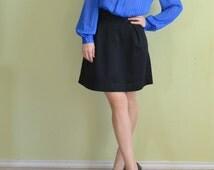 SALE Vintage 80s secretary blouse blue high collar victorian steampunk lolita sheer top shirt medium