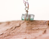 Vial 2 - Aqua Tourmaline Crystal on Sterling Silver Chain, Natural, Dainty, Minimal, Blue Green, Afghan Tourmaline