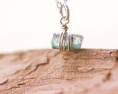 Vial 2 - Aqua Tourmaline Crystal on Sterling Silver Chain, Natural, Dainty, Minimal, Blue Green, Afghan Tourmaline