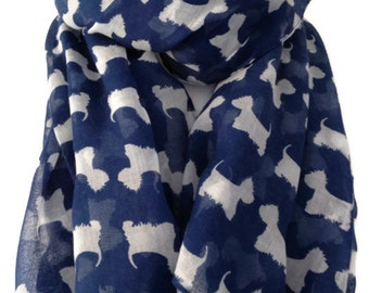Westie Dog Scarf , Ladies Navy Blue and White Westie Scarf , West Highland Terrier  Wrap shawl , Scottie Dog Sarong