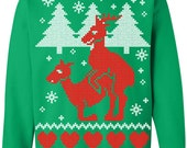Ugly Christmas Sweater - Humping Reindeer Crew Neck Sweatshirt - X-mas Tee - Funny Christmas Sweater Shirt