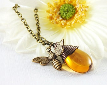 Bee Necklace, Honey Bee Necklace, Bumble Bee Necklace, Bee Charm Necklace, Bee and Honey Drop, Bee Jewelry, Apiculture Jewelry, Gift For Her