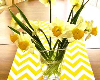 YELLOW TABLE RUNNER 12 x 48 Yellow Chevron Table Runners Wedding Showers Decorative Yellow Chevron Table Runner 60 72 84 96