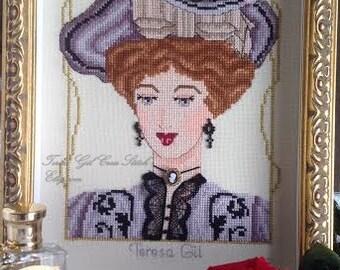 Edwardian Beauty : Alexandra Victorian Edwardian style PDF Counted cross stitch Chart pattern Instant Download