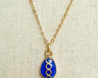 Tiny Teardrop Necklace, Blue Teardrop Necklace, Gold and Blue Resin Teardrop Necklace, Gold Chain Blue Resin Necklace, Resin Jewelry For Her