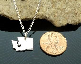 Tiny Sterling Silver Washington Necklace / Custom Heart / Small Washington Necklace / Love Washington / State Necklace / Washington Wedding