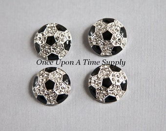SALE Soccer Ball Metal Rhinestone Buttons - Black and White Sports Ball Silver Setting Rhinestones - Metal Shank - Craft Embellishment