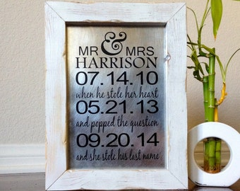 Personalized Wedding Important Date Sign Wedding Gift Anniversary Gift