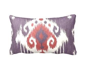 Purple Lumbar Pillow Cover Purple Pillow Cover Ikat Pillows Plum Pillows Purple Throw Pillow Cover Decorative Pillows Lavender Pillow