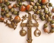 Catholic Rosary Beads #51 - Five (5) Decade Rosary - Antique True Bronze Handmade Rosaries - Large Southwest Rosary in Unakite and Agate