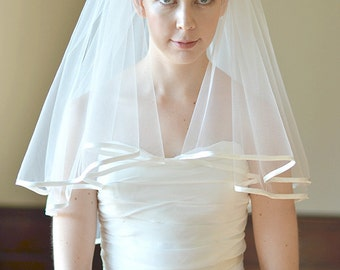Satin veil, satin edge wedding veil, two tier veil with 7mm satin edging, satin binding, blusher veil, blusher satin veil