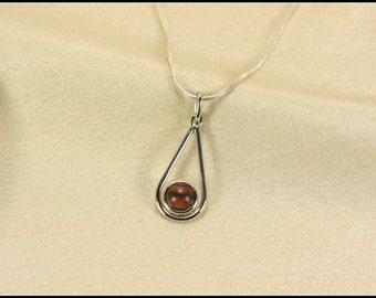 Teardrop necklace, Sterling silver teardrop necklace, Brown teardrop pendant, Simple teardrop pendant necklace, Wooden pendant necklace