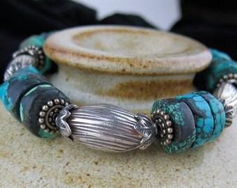 Turquoise Chunky Stone Bracelet, Blue Stone Beaded Bracelet, Chunky Jewelry, Turquoise Silver Jewelry, Blue Bracelet, Blue Stone Jewelry