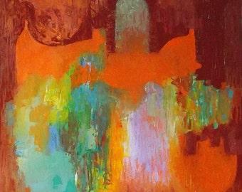 Original painting, bright vivid orange, turquoise, russet, autumn colours, 13 x 13