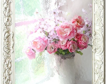 Peonies Roses Photography, Romantic Shabby Chic Floral Art, Dreamy Paris Flower Photo Prints, Impressionistic Paris Ranunculus Roses Peonies