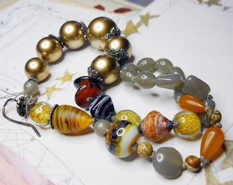 Beaded Necklace -- Chunky Bead Necklace -  Lampwork Glass, Vintage Metallic Beads - Gold, Grey - Colorful Boho Assemblage Necklace