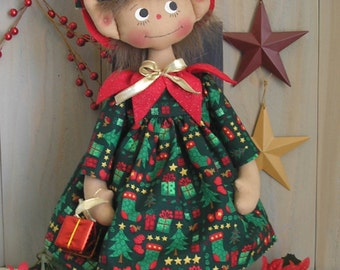 PDF E-Pattern #25 Primitive Raggedy Christmas Elf Doll Holiday Sewing Craft