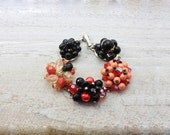 Recycled jewelry.  Vintage earring bracelet . Stunning and one of a kind. Punk.