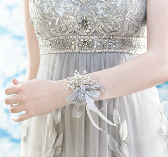 Wrist Corsages Wedding: Wrist Corsage Iridescent Beads Wedding Accessory For