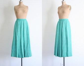 gorgeous Carlisle silk & wool blend midi skirt - spearmint green skirt / Mint Green skirt - windowpane check skirt / 80s designer skirt