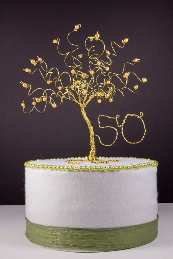 wedding cake toppers for 50th anniversary 50th anniversary cake topper gold tree sculpture 26468