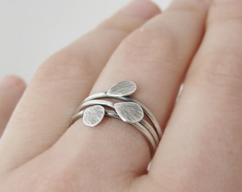 Silver leaf rings. Set of three stacking rings. Simple nature inspired jewelry.