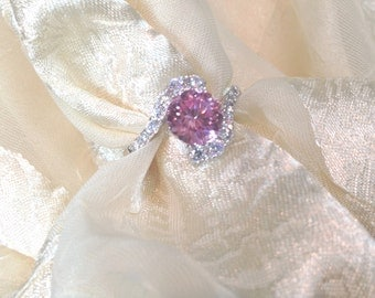 Pink Sapphire Bypass Engagement Ring in White Gold and Sterling Silver With White Topaz