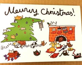 Cute Cat Christmas Card Mewwy Merry Christmas, Cute Christmas Card