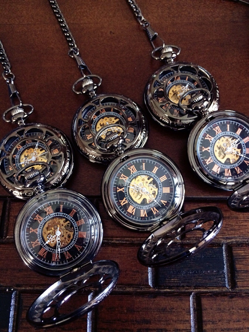 set of 6 pocket watches personalized by pocketwatchkeepsakes