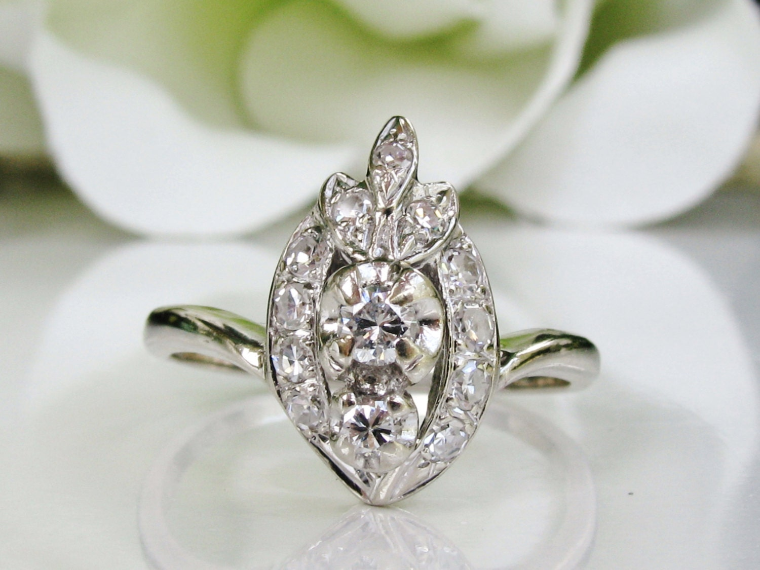 vintage engagement ring unique by ladyrosevintagejewel