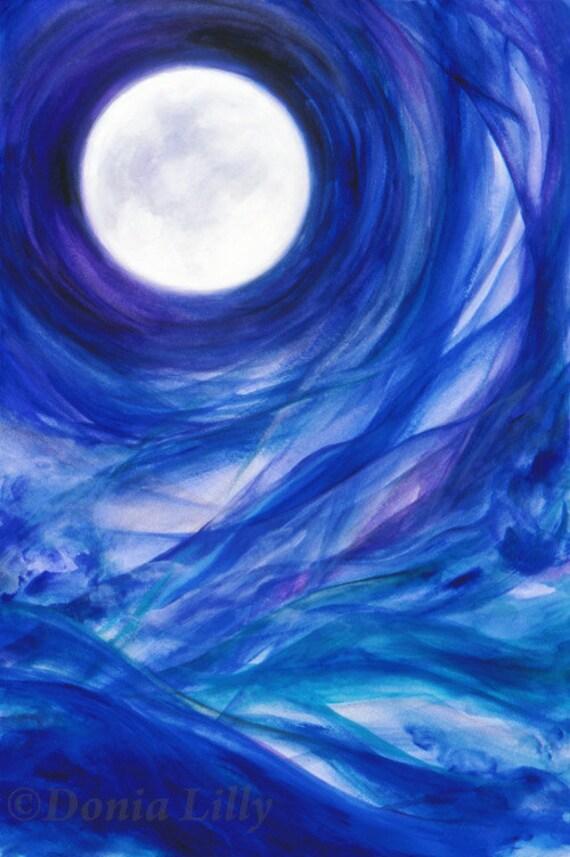 Cobalt Metallic Blue Blue Moon Art Cobalt Indigo